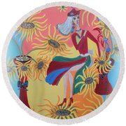 Sunflower's Contessa  Round Beach Towel