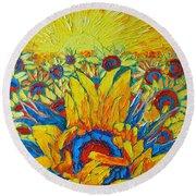 Sunflowers Field In Sunrise Light Round Beach Towel