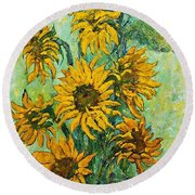 Sunflowers For This Summer Round Beach Towel