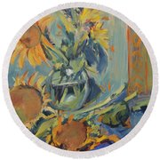 Sunflowers Fresh And Dried With Vase Round Beach Towel