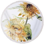 Sunflowers II Uncropped Round Beach Towel