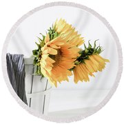 Round Beach Towel featuring the photograph Sunflowers In A Basket by Kim Hojnacki