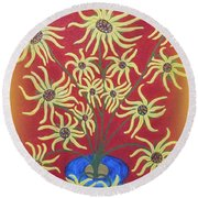 Sunflowers In A Blue Vase Round Beach Towel