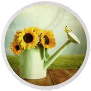 Sunflowers In A Watering Can Round Beach Towel