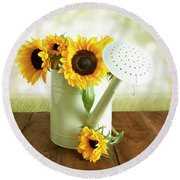 Sunflowers In An Old Watering Can Round Beach Towel