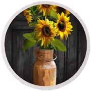 Sunflowers In Copper Milk Can Round Beach Towel