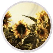 Sunflowers In Tone Round Beach Towel