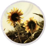 Round Beach Towel featuring the photograph Sunflowers In Tone by Glenn McCarthy Art and Photography