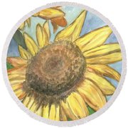 Sunflowers Round Beach Towel by Jacqueline Athmann
