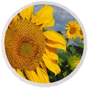 Round Beach Towel featuring the photograph Sunflowers by James Peterson