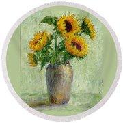 Sunflowers Round Beach Towel by Jill Musser