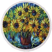 Sunflowers In A Vase Palette Knife Painting Round Beach Towel