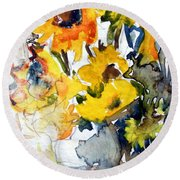 Sunflowers Round Beach Towel by Mindy Newman