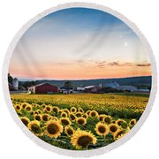 Sunflowers, Moon And Stars Round Beach Towel