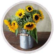 Sunflowers Round Beach Towel by Nailia Schwarz