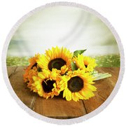 Sunflowers On A Table Round Beach Towel