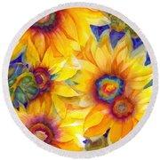Sunflowers On Blue II Round Beach Towel