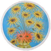 Round Beach Towel featuring the painting Sunflowers On Blue by Marie Schwarzer