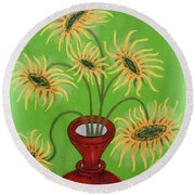 Sunflowers On Green Round Beach Towel