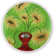 Sunflowers On Green Round Beach Towel by Marie Schwarzer