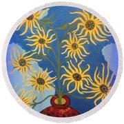 Sunflowers On Navy Blue Round Beach Towel