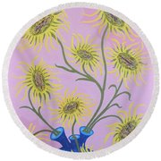 Sunflowers On Pink Round Beach Towel