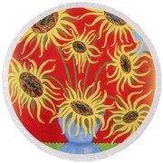 Round Beach Towel featuring the painting Sunflowers On Red by Marie Schwarzer
