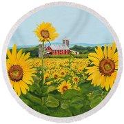 Sunflowers On Route 45 - Pennsylvania- Autumn Glow Round Beach Towel