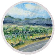 Sunflowers On The Way To The Great Sand Dunes Round Beach Towel by Holly Carmichael
