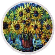 Sunflowers  Palette Knife Round Beach Towel