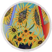 Sunflowers Rhapsody Round Beach Towel