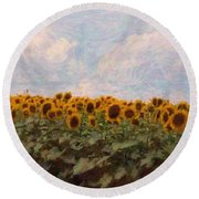 Round Beach Towel featuring the photograph Sunflowers by Robin Regan