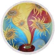Sunflowers Symphony Round Beach Towel by Marie Schwarzer