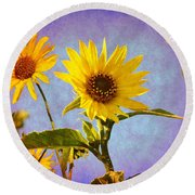 Round Beach Towel featuring the photograph Sunflowers - The Arrival by Glenn McCarthy Art and Photography