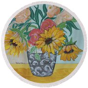 Round Beach Towel featuring the painting Sunflowers Three by Robin Maria Pedrero