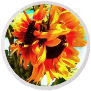 Round Beach Towel featuring the photograph Sunflowers - Twice As Nice by Janine Riley