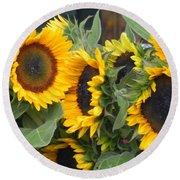 Sunflowers Two Round Beach Towel by Chrisann Ellis