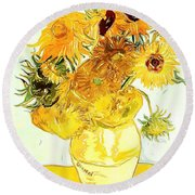 Sunflowers - Van Gogh Round Beach Towel