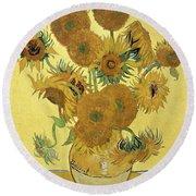 Sunflowers, 1888  Round Beach Towel