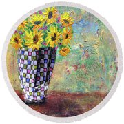 Sunflowers Warmth Round Beach Towel by Haleh Mahbod