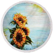 Sunflowers - Where Ocean Meets The Sky Round Beach Towel