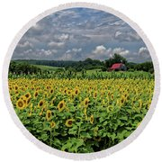 Sunflowers With Barn Round Beach Towel