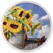 Sunflowers With Violin Round Beach Towel