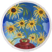 Sunflowers On Navy Blue Round Beach Towel