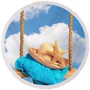 Sunhat On Swing Round Beach Towel