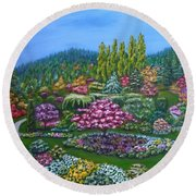 Round Beach Towel featuring the painting Sunken Garden by Amelie Simmons