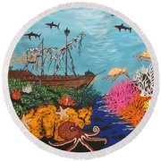 Sunken Treasure Ship Round Beach Towel