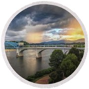 Sunlight And Showers Over Chattanooga Round Beach Towel