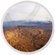 Sunlight And Snow-capped Peaks Round Beach Towel