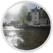 Round Beach Towel featuring the photograph Sunlight On Canal In Amsterdam by Therese Alcorn